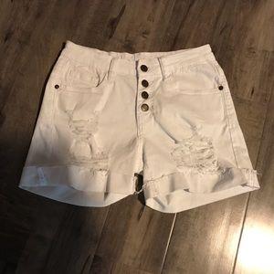 Machine brand white denim distressed shorts Sz 26